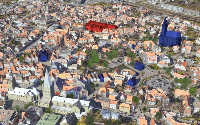 3D model of the city of Soest, with textures and trees