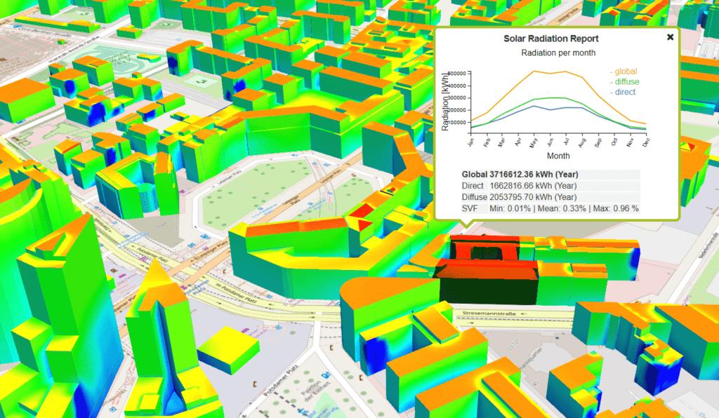 3D-Solarpotenzialanalyse 3D-Stadtmodell