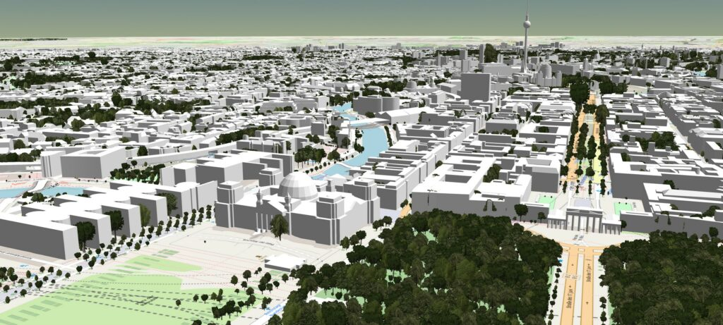3D-Stadtmodell Berlin untexturiert mit Bäumen