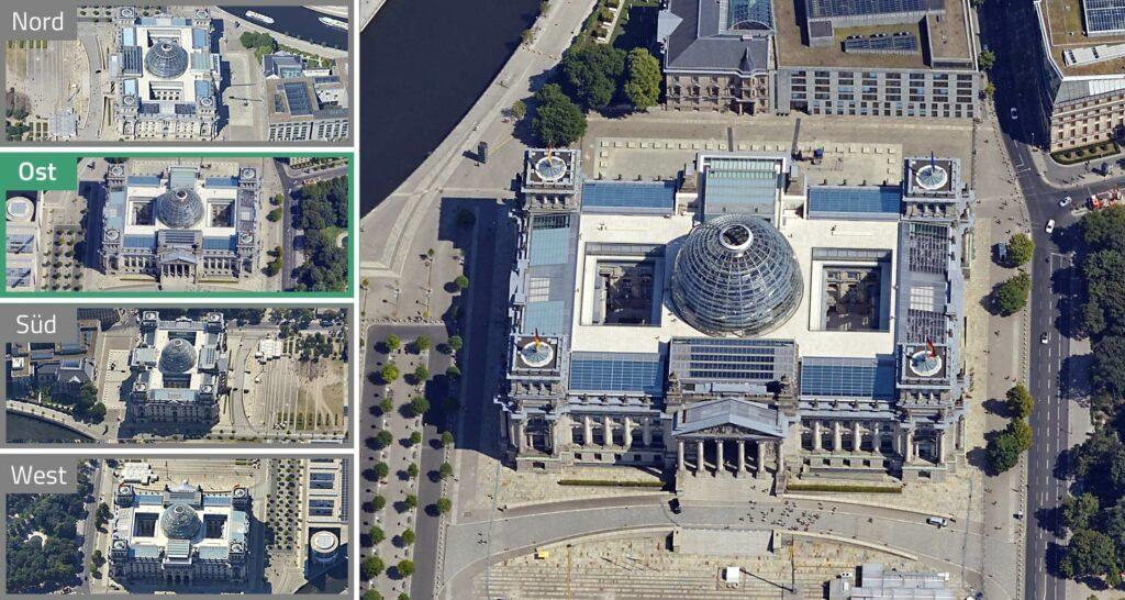 Schrägluftbild des Berliner Reichstagsgebäudes aus allen vier Himmelsrichtungen