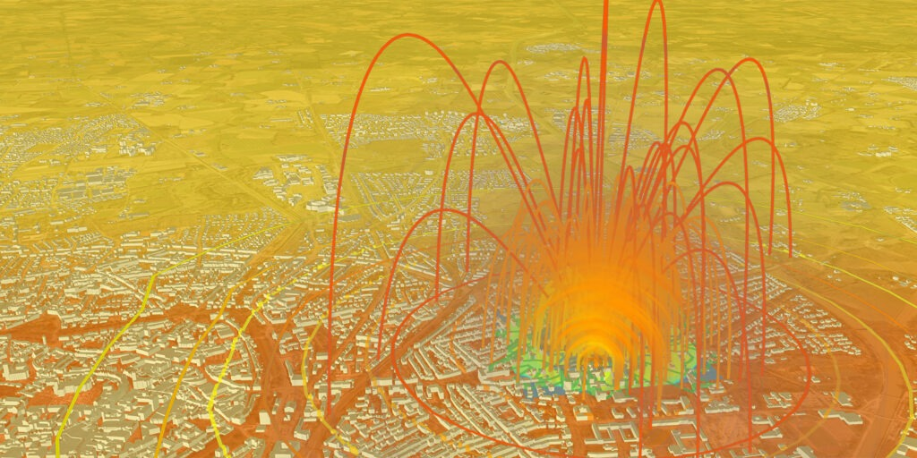 VC Blastprotect: Visualization of the splinter flight and the pressure wave in the urban area
