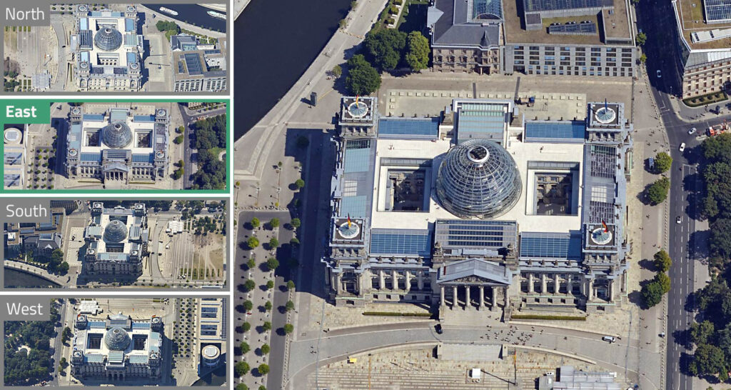 Viewing Berlin's Reichstag from four different perspectives – simultaneously